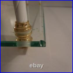 Etagère verre plexiglas métal doré art déco fait main design XXe France N3434