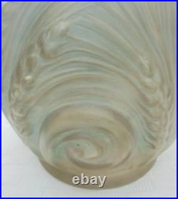 Etaleune Vase Art Deco Verre Moule Presse Satine Décor Blés N3661