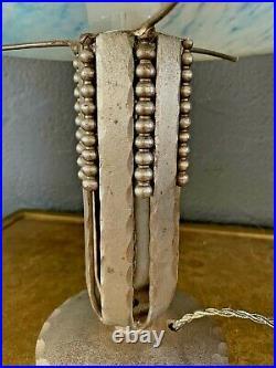 FAG et P. CRESPIN lampe art deco fer forgé martelé et dôme en pâte de verre