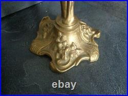 Femme art nouveau / art deco lampe statue en bronze pâte de verre schneider