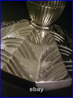 G & L Verdun Lampe Art Deco En Bronze Nickelé Et Obus En Verre Pressé 1930