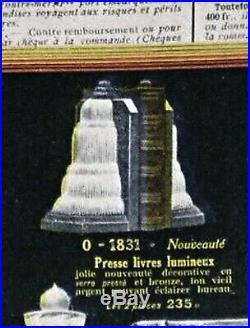 G. Leleu Paire De Serre-livres Lumineux Art Déco Bronze Nickelé Et Verre Pressé