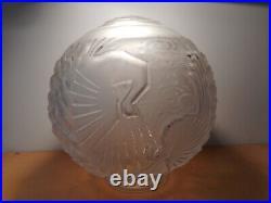 Globe lampe art déco Muller frères verre boule pressé moulé décor oiseau paon