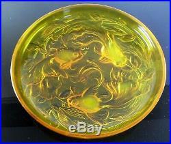 Grand Coupe Verre Moule Poissons Japonais Art Déco Sabino Etling Verlys Signe