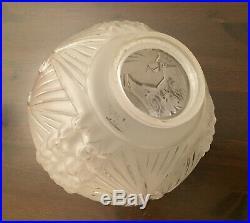 Grand Globe De Lampe Suspension Lustre Art Déco Muller Freres Aux Paons