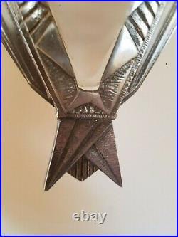 Grande paire appliques art deco verre 1930 Degué support bronze massif argenté