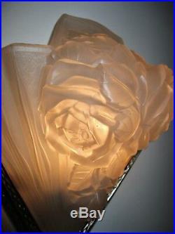 Grosse Applique Art Déco bouquet de roses verre pressé VERDUN era Muller Degue