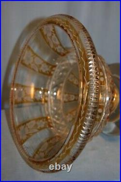 Grosse coupe en verre taillé sur pied Bohème Bohemian glass