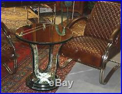 Guéridon rond de style 1930 en vitre
