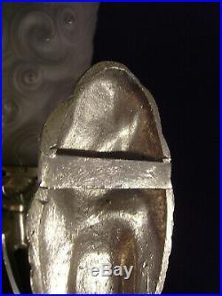 H. Mouynet Paire Dappliques En Bronze Nickelé Et Tulipes En Verre Pressé 1930