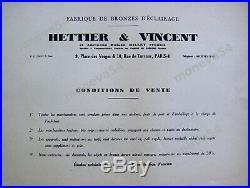 Hettier & Vincent Lustre Art Déco 4 Feux Bronze Nickelé Et Verreries Pressées