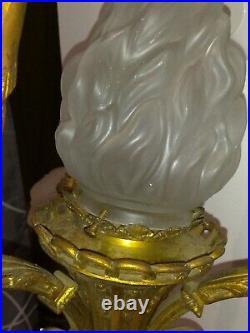IMPOSANT LUSTRE Ancien en BRONZE, XIX ème, 4 Lampes. No DAUM, No MULLER
