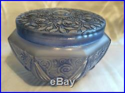 Julien Viard Boite A Poudre En Verre Art-deco 1920 Vintage Glass Powder Jar Box