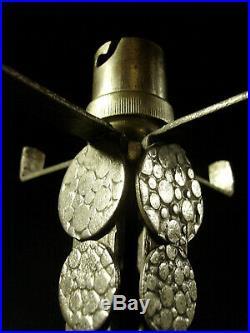 L. Ravaud Et Sonover Lampe Art Déco En Fer Nickelé & Tulipe En Verre Pressé 1930