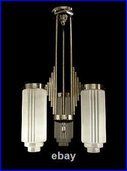 L. Vandamme Suspension Art Déco Skyscraper Bronze Nickelé & Globes Verre Pressé