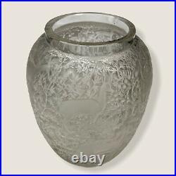LALIQUE Vase verre à décor de Biches Art Deco (1932) Lalique France