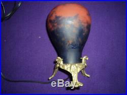 LAMPE MULLER era daum pate de verre art deco, nouveau pied bronze
