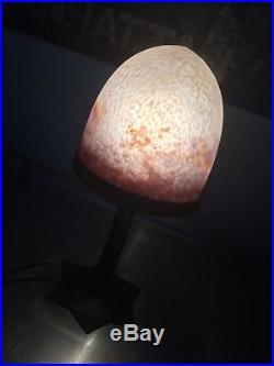 Lampe Art Deco Degue Pate De Verre Fer Forge