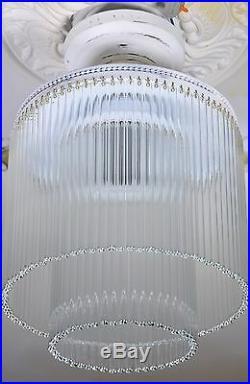 Lampe Art Suspension Deco Antique Belle De Verre Blanc Ancien Plafonnier Forme