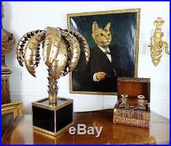 Lampe De Style Jansen Des Années 70 En Forme De Palmier En Métal & Socle Verre