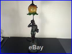 Lampe Statue Decor Enfant Tulipe En Pate De Verre 70cm