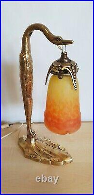 Lampe ancienne d un oiseau en bronze doré et pate de verre muller signé C RANC
