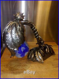 Lampe art déco signée Trichard fer forgé tulipe verre français gallé majorelle