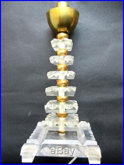 Lampe de table 7 plaques altuglas, 7 boules métal doré, vasque verre EZAN France
