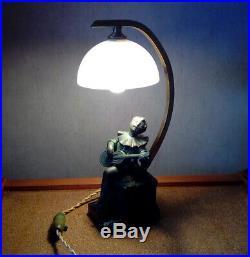 Lampe statuette veilleuse art deco regule pierrot de la lune
