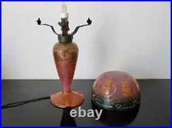 Le Verre Français Charles Schneider rare lampe Art Déco. Pate de verre charder