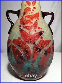 Le Verre Français Rare Vase Aux Papillons Époque Art Déco Gallé Daum
