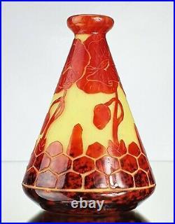 Le Verre Français Sublime Vase Pavots Charles Schneider Verre Gravé ART Déco