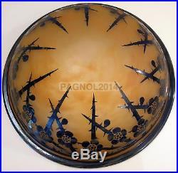 Le verre français lustre vasque suspension art deco pate de verre dégagé l'acide