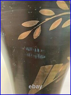Lucien Gerfaux Lampe Décor à l' Oiseau en Dinanderie Dorure Verre Bois Art déco