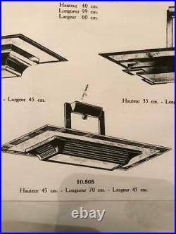 Lustre Art Déco moderniste- Petitot- Metal nickelé et Verre sablé- 1938