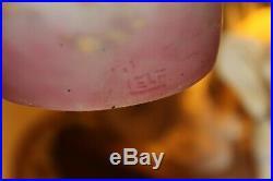 Lustre Art déco en pâte de verre et fer forgé signé L'ELF pour Louis Fontaine
