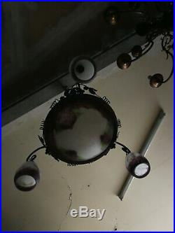 Lustre Art déco fer forgé et pâte de verre signé Rethondes no Muller Daum degué