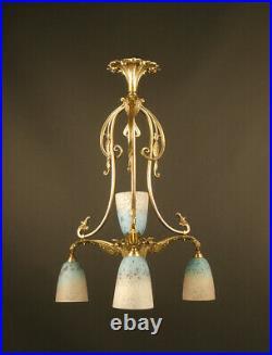 Lustre De Transition Art Nouveau / Art Deco En Bronze Et Verrerie Schneider