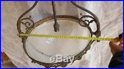 Lustre Suspension bronze vasque Verre dépoli Gravé art Déco ancien deb 20ème