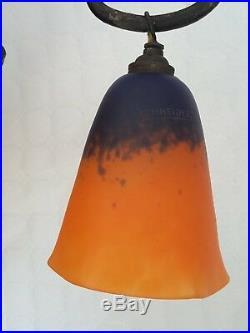 Lustre art deco fer forge pate de verre schneider hauteur 90cm axe-tulipe 29cm