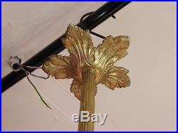 Lustre de Brasserie 4 Feux en Bronze Tulipes en Verre Début XX ème siècle