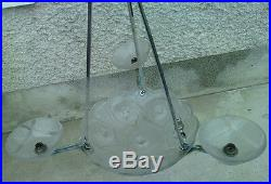 Lustre plafonnier coupelle verre moulé decor geometrique art deco vasque 1053