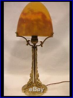 MULLER FRERES GRANDE LAMPE BRONZE DORE PATE DE VERRE ART DÉCO lamp
