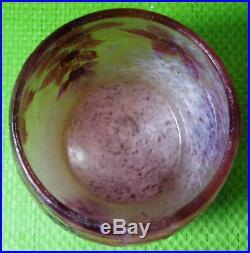 Magnifique vase LEGRAS pâte de verre fond givré Art Déco 1920 décor floral fleur