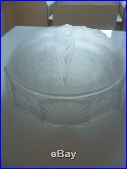 Muller Freres Luneville Vasque 3 Trous Verre Presse Moule Art Deco 1930 Lustre