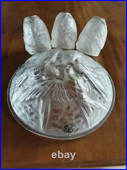 NOVERDY Art Déco vasque et 3 tulipes pour lustre Verre pressé moulé aux oiseaux