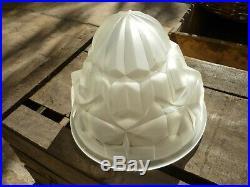Obu Degue Verre Depoli Centre De Lustre Lampe Plafonnier Art Deco Sans Monture