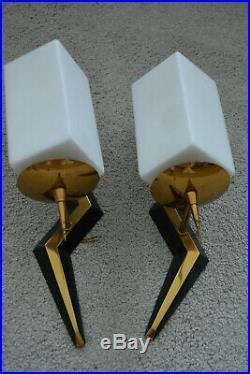 Paire de lampes appliques art deco design 40.60's deco loft Vintage lamp sconce