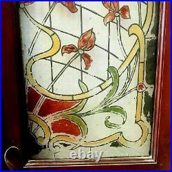 Paire de portes Art Déco en verre peint a l'imitation du vitrail XX siècle