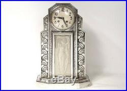 Pendule Art Déco Hettier & Vincent bronze argenté verre femme clock XXè